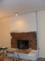 painted white brick fireplace