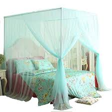 Mengersi 4 Corner Bed Canopy Curtain Mosquito Net Bed Frame Draperies (Twin, Light Green)