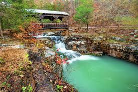 Ponca Arkansas Covered Bridge Falls in Autumn Photograph by Gregory Ballos