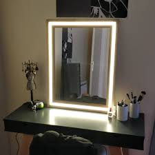 picture of modern wood and led vanity mirror