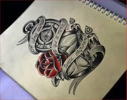 Hourglass Drawing 86193 Hourglass Clock Roses Tattoo Sketch Thiago