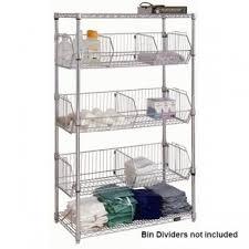 chrome wire shelf unit with wire bins