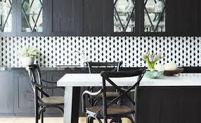diamond black white backsplash tile