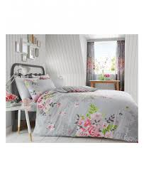grey and pink alice fl king duvet cover and pillowcase set