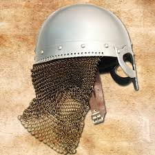 chain viking helmet with spectacles leather straps