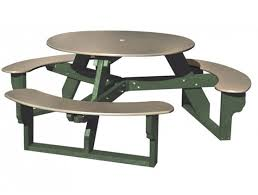 picture of recycled plastic round picnic table three attached benches portable