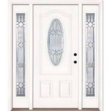 white front door. 63.5 In.x81.625in.Mission Pointe Zinc 3/4 Oval Lt Unfinished White Front Door