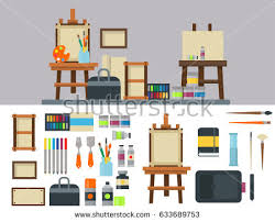 creative furniture icons set flat design. painting art tools palette icon set flat vector illustration details stationery creative paint equipment furniture icons design