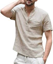 WULFUL <b>Mens</b> Cotton Linen Henley Shirt <b>Loose Fit</b> Long Sleeve ...