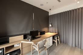 office color palettes. With The Dividing Curtain And Dark Grey Shades Pull Down Over Lengthy Natural Wood Desk Office Color Palettes E