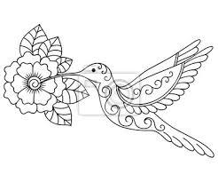 Fototapeta Henna Tetování Květiny A Colibri šablony Mehndi Styl Sada Ornament