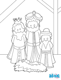 The Three Wise Men At Manger Coloring Pages Hellokids Com Throughout