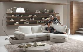 wood floating shelves modern living room design