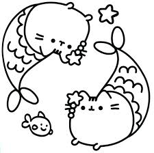 Pusheen Coloring Pages Two Pusheen Fish Picture Free Printable