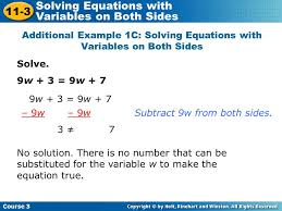 solving equations with variables on both sides ppt