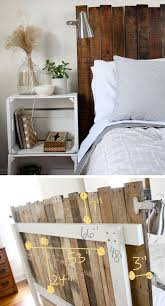 diy stained pallet headboard