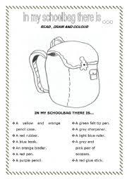 english teaching worksheets school english worksheets in my schoolbag