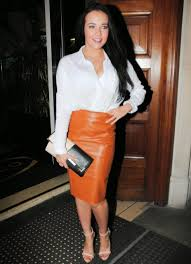 celebrities in leather stephanie davis wears a brown leather skirt at san carlo restaurant in manchester