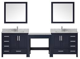 The elegantly arched surround integrates the dual vanities. Hot New Trend For 2018 Bathroom Vanities With Built In Makeup Tables