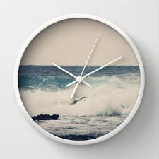 Small Picture Art Wall Clock Ocean Blue Modern photography home decor grey gray
