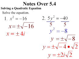 notes over 5 4 imaginary numbers 2 notes over 5 4 solving a quadratic equation solve the equation