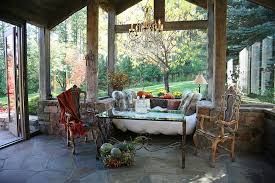 pictureperfect rustic sunroom with sitting nook and unassuming dcor design alexandra lauren furniture t34 furniture