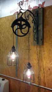 3 pendant lights over sink fresh light fixture made from old pulley love pulleys so practical