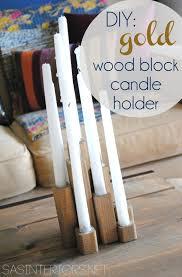diy gold wood block candle holder