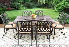 san marcos cast aluminum outdoor patio 9pc set 8 dining chairs 64 inch square table series 5000 35 lazy susan with sunbrella sesame linen cushion