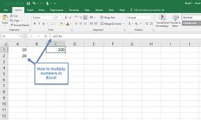microsoft excel with numbers in cellultiplication formula in formula bar