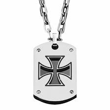 triton men s stainless steel maltese cross dog tag pendant 22