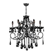 kronos 6 light chrome with black crystal large chandelier