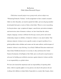 reflection child abuse reflectionchild abuse research projectchild abuse research project was a group work and our subject was