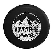 Distressed Spare Tire Cover Adventure Awaits Mountain
