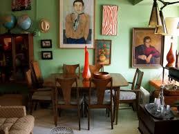 mid century modern round table staircase white dark brown moldings chevrun rug plush delos rug for