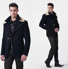 double collar navy blue refined premium wool zip up pea coat
