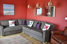 Red Walls In Bedroom Living Room Beautiful Gray Decorating Ideas With  Amazing Gold Hang Lamp On The Ceiling Grey Colour