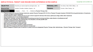 therapy aide job titlephysical therapy aide resume