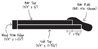 bar top kit without glass rail and drip edge