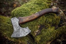 carved axe handle. custom made damascus steel carving axe with leather inlaid handle from northman on facebook.com carved a