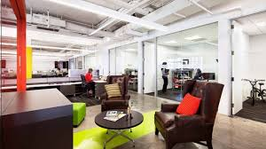 industrial style office. colorful office in atlanta shines with industrial lighting 1 style
