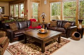 choosing rustic living room. Living Room With Rustic Furniture Including Leather Sofas Choosing O
