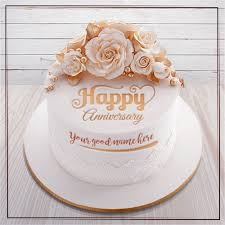 Write Name On Happy Anniversary Cakes And Cards Wishes