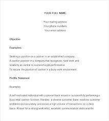 Restaurant Duties Resume Resume Example For Cashier Sample