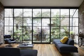 amazing stylish glass wall living room