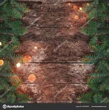 Christmas Branches With Lights Christmas Fir Branches Lights Red Decorations Wooden