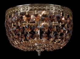 crystal basket flush chandelier aged brass larger image