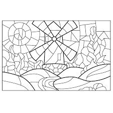 Kleurplaat Glas In Lood Landschap Met Een Molen Kleurplaten