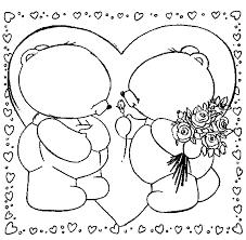 Due Dolci Orsetti Innamorati Mazzo Di Rose Da Colorare Disegni Da