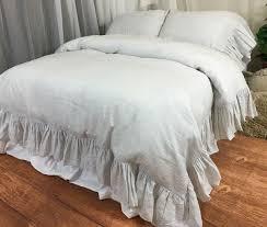 white ticking striped linen duvet cover